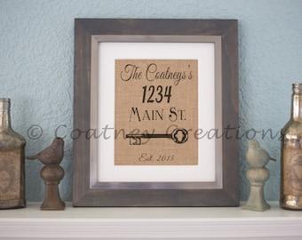 Customized Address Burlap Print!