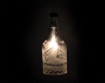 Chivas Regal Whisky made in Scotland bottle ceiling hanging pendant lamp - Chivas Regal Whisky bottle hanging pendant lamp - gift for him