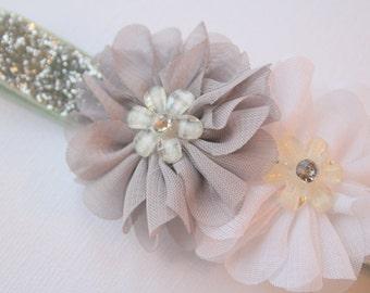 Grey and White Petite Flower Glitter Baby Headband
