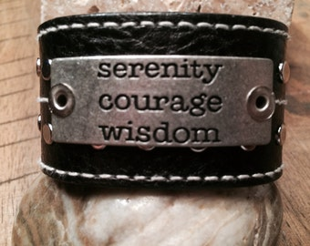 Ruff Cuff leather cuff bracelet Serenity Prayer