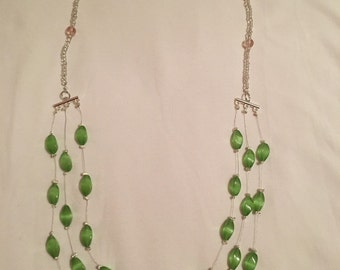Sparkly green beaded necklace