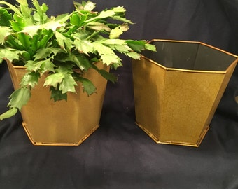 Pair Metal Cache Pot Planters