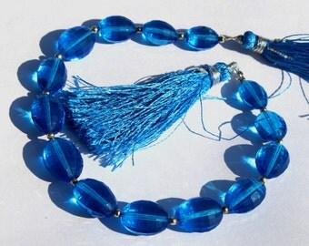 1/2 Strand 7 pcs 11x8-14x9 mm Swiss Blue Quartz Chakker Cut Barrel Beads, Semiprecious Beads BR47