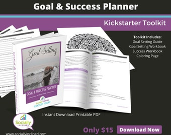 Goal & Success Planner Toolkit - 14 pg Goal Setting and Success Guide, 14 pg Success Workbook, 7 pg Goal Setting Workbook, Coloring Page.