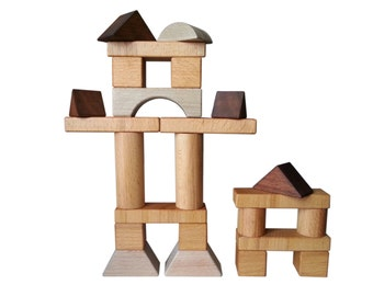 Blocks of wood - 24 parts - 9 different forms construction