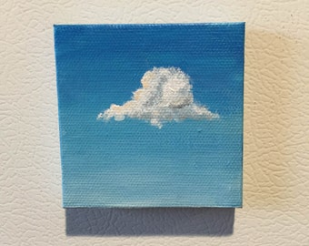 Tiny Cloud Fridge Magnet Painting 2x2