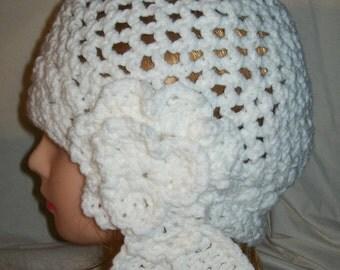 White Crochet Cloche Hat
