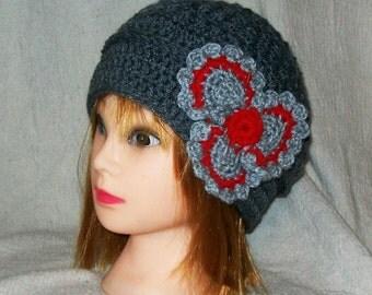 Crochet Gray Tam/Hat