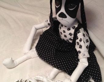 Miss Ladybug...Praying For Childhood Cancer..a sweet cloth display dog doll