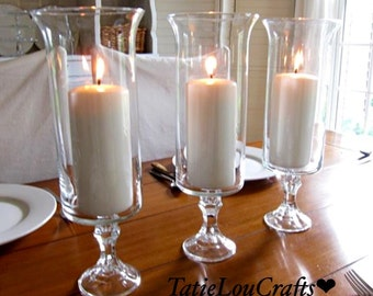 "SET OF (10) 13"" Clear Glass Wedding Centerpieces, Table Centerpiece,Party centerpiece, candle holder."