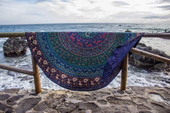 Bohemian - Roundie - Mandala tapestry - Beach towel - Boho - Mandala - Blanket throw-Round tapestry- BohoandFree -Wall hanging- Volcano