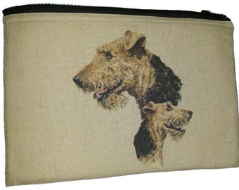 Airedale Terrier Breed of Dog Universal Padded Hemp Cotton Fabric Storage Tablet Case / Pouch Perfect Gift