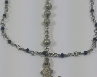 Vintage Italian rosary bead trio chain necklace