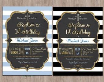 baptism and birthday invitation, 1st birthday baptism invites, Baptism Invitation Boy, Printable, invites, Christening invitation, digital