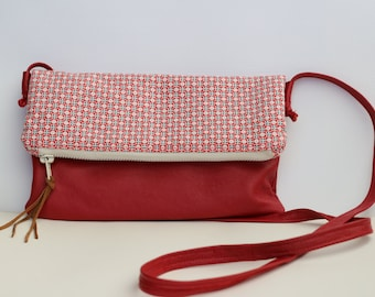 Red leather and cotton print foldover crossbody purse