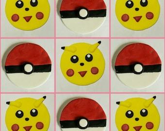 12 X Edible fondant cupcake toppers - Pokemon.Pikachu.Pokeball