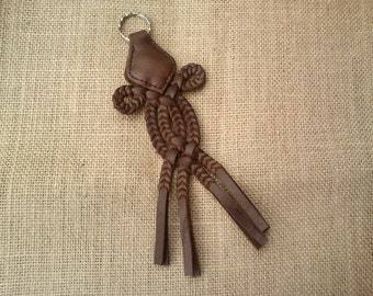 Braided Leather Keychain / Dark Brown Keychain - Traditional Hungarian Sallang Style
