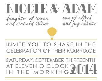 Printable Retro Wedding Invitation with RSVP | Customizable