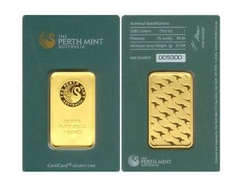 5 - 1oz. Gold Bars From The Australian Perth Mint