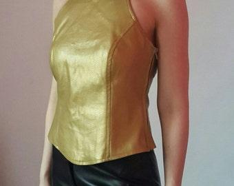 Golden color faux leather top