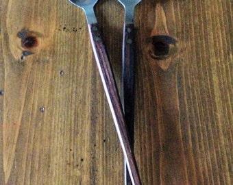 MidCentury Danish TeakWood Salad Serving Utensils Made in Japan Flatware Silver Wood Wooden Kitchen Design Dark