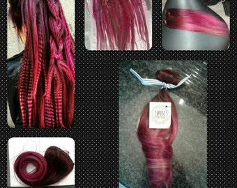 Red wine to fusha ombre extensions