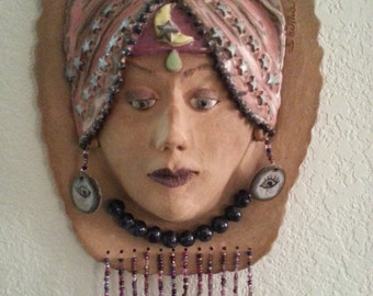 Old Gypsy Fortune Teller With Zodiac Sculpture Stoneware Ceramic Hand Made one of a kind
