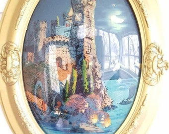 "Antique Framed Reverse Painting On Glass 1917 ""Castle In Belgium"" Convex Glass"