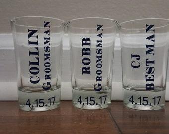 Groomsmen Shot Glasses, Wedding, Groomsmen Gifts, Bachelor Party