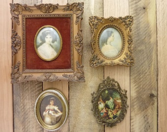 Vintage Cameo Creation Framed Victorian Ladies Empress Eugenie Hubak Lady + 2