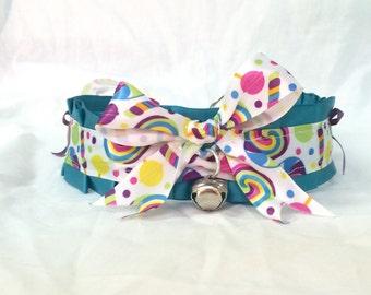 Custom Made Candy Ribbon Choker with Bows Collar for Neko Cosplay, Kittenplay, etc,