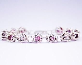 Captured Swarovski Crystal Bracelet with Sterling Silver Chainmaille