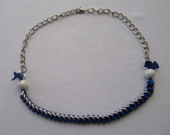 Women's necklace , silver and royal blue