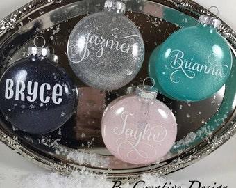 Glitter Ornaments - Custom Ornaments- Personalized Ornaments- Ornament Exchange- Name Ornament