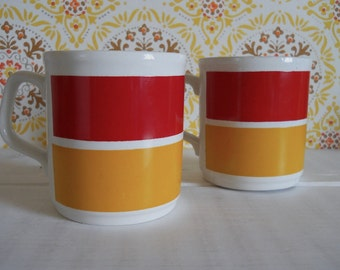 Pair of 1970s/80s Red & Yellow Stripe Cartwrights 'Table Tops' Mugs