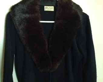 Vintage fur collar cardigan