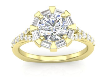 Yellow Gold Engagement Ring Baguette Halo Ring For Her Semi Mount New 14K Setting Forever One Colorless Moissanite Ring Unique Halo Ring