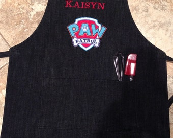 Personalized Kids apron, paw patrol apron, personalized apron, monogram apron, boys apron, toddler boy apron.