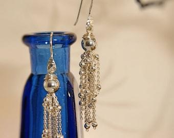 """Stunning 925 Sterling Silver dangle earrings ( 2 3/4"""" (6.985cm)length ."""