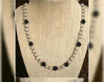 White Jade & Blue Goldstone necklace