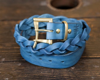 """1.25"""" Indigo Braided Leather Quick Release Belt with Solid Brass or Nickel Plated Hardware - Made to Order"""