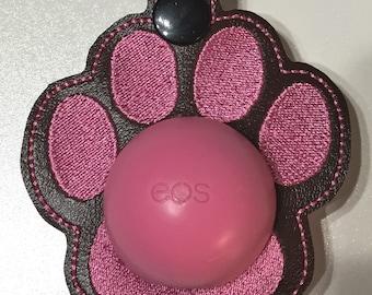 Paw print lip balm / chapstick embroidered holder EOS