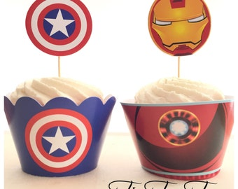 12/set Avengers IRONMAN and CAPTAIN AMERICA Cupcake Toppers + Wrappers. Superhero