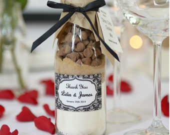 Wedding favours, cookie mix, box of 25 with personalised damask label, wedding favours, bridal shower gifts, baby Shower gifts