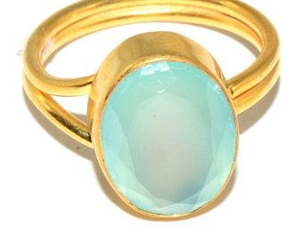 Aqua kelsi oval shape adjustable ring gold plated