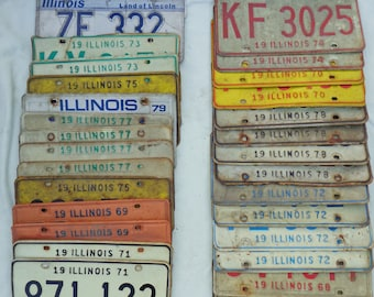 Lot of 30 Illinois License Plates Vintage to Modern Including Bicentennial
