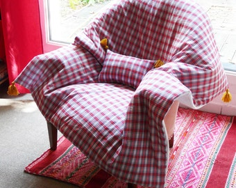 Quilt, plaid, quilts, quilt, cover 100 x 100 cm, in red and white by Scottish Plaid cotton House aunt CATH