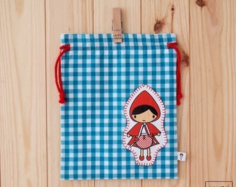 snack bag Red Riding Hood - /Little red riding hood lunch bag turquoise vichy - vichy turquoise