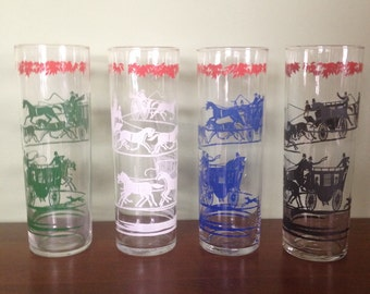 Vintage Libbey Glassware- Horse and Carriage high ball glasses/'Slim Jim's'