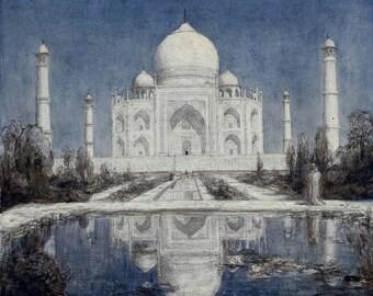 Taj Mahal print, India giclee print, romantic Taj Mahal print